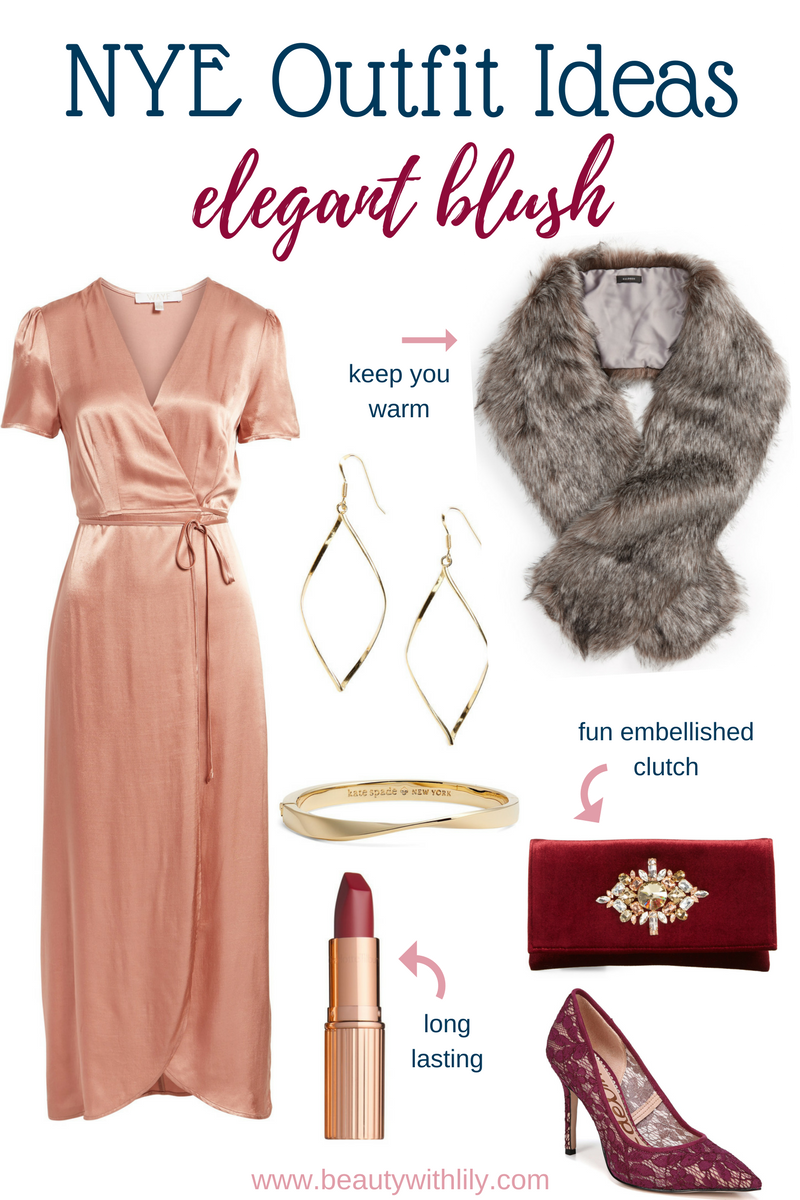 New Years Eve Outfit Ideas // Elegant Blush Outfit   Beauty With Lily #nyeoutfit #fashionblogger