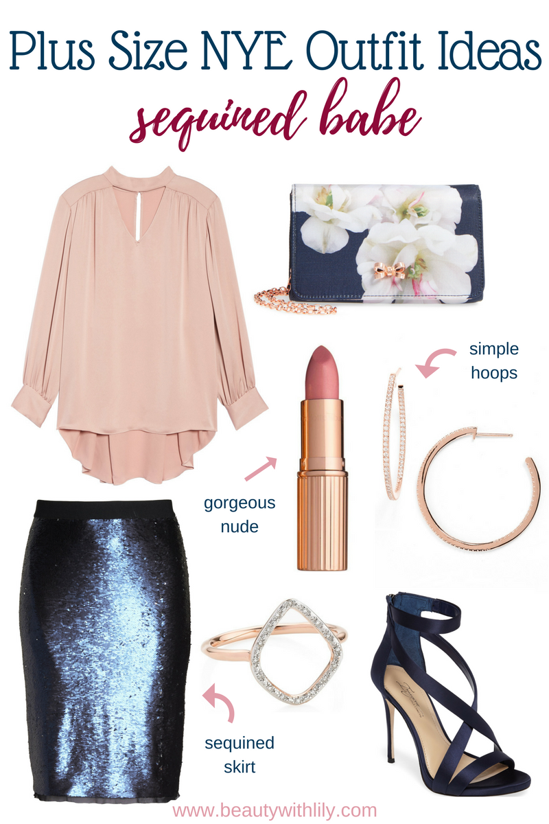 Plus Size New Years Eve Outfit Ideas // Sequined Outfit   Beauty With Lily #nyeoutfit #fashionblogger #plussizefashion