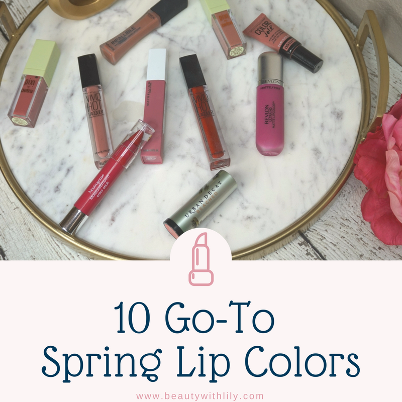 10 Go-To Spring Lip Colors // Spring Nude Lip Colors // Spring Red Lip Colors // Spring Mauve Lip Colors | Beauty With Lily