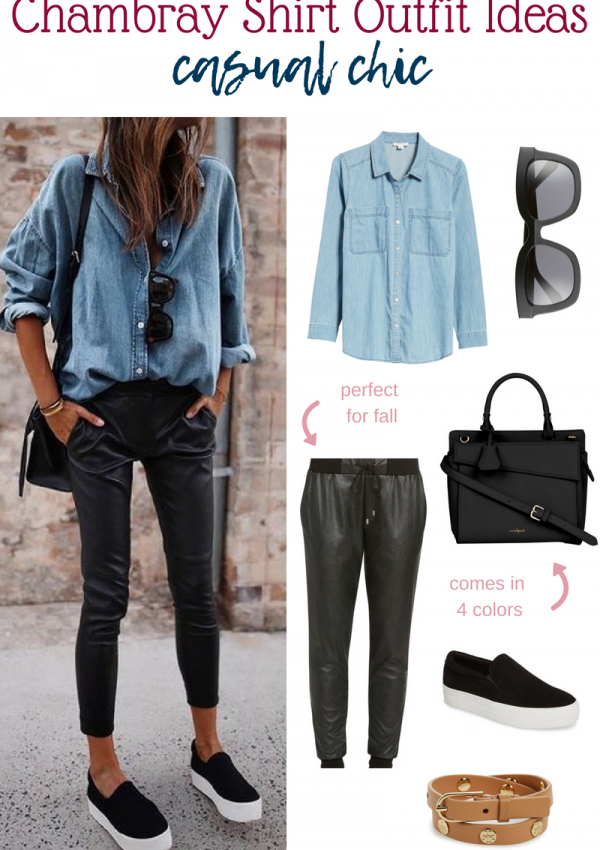 Chambray Shirt Outfit Ideas // Chambray Outfit Ideas // Casual Fall Outfit // Chambray Fall Outfit // Easy Outfits | Beauty With Lily