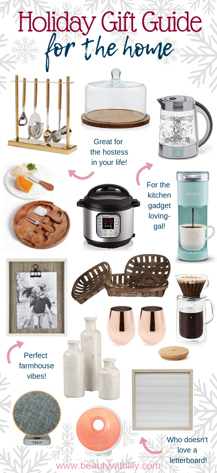 Gift Guide For The Home // Home Decor Gift Guide // Holiday Gift Guide // Kitchen Gadget Gift Guide // Gift Guide For Her   Beauty With Lily #giftguides #holidaygiftguide #giftsforher