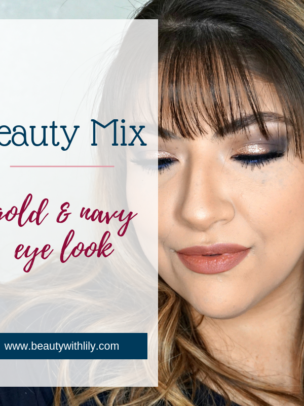 Glitter Eye Look // Navy & Gold Eye Look // Glitter Makeup Look // Glam Holiday Look // Glam Makeup // Gold Glitter Makeup Look | Beauty With Lily