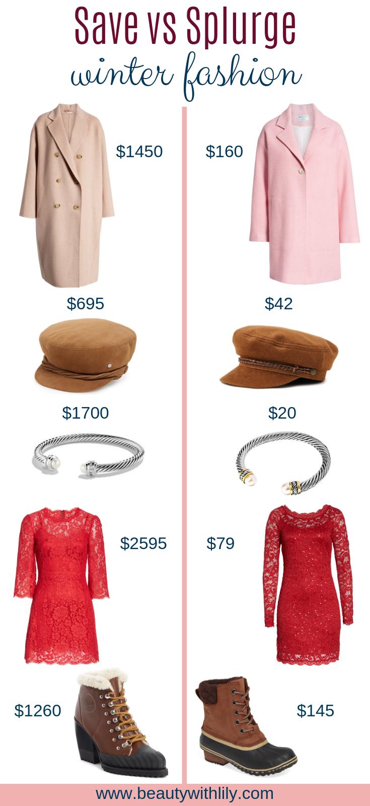 Save vs Splurge Winter Fashion // Winter Fashion // Winter Fashion Ideas // Designer Dupes // Affordable Fashion | Beauty With Lily #fashionblogger #designerdupes #affordablefashion