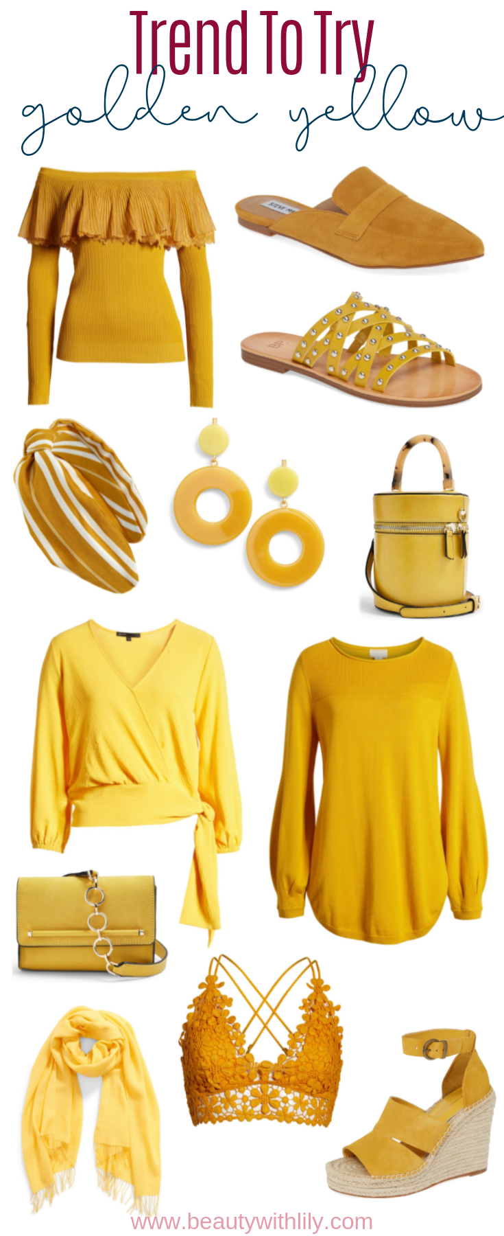 Golden Yellow Trend // Trend To Try Yellow // Summer Fashion // Fall Fashion // Summer to Fall Fashion // Transitional Fashion Pieces // Colorful Fashion // Outfit Ideas   Beauty With Lily
