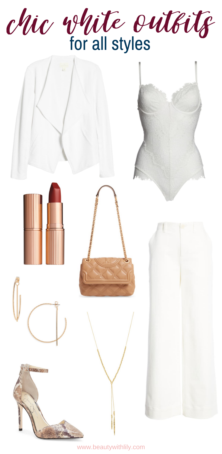 Chic White Outfit Ideas // All White Outfit Inspiration // Winter White Outfits // Valentine's Day Outfit Ideas // Romantic Outfit Ideas // Date Night Outfit Ideas   Beauty With Lily #outfitinspiration #whiteoutfits
