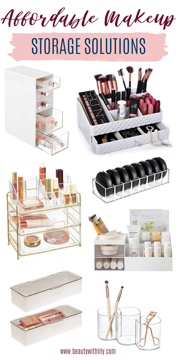 Affordable Makeup Storage Solutions // How To Organize Makeup // Beauty Room // Makeup Tips & Tricks // Organizational Home Solutions // Beauty Organizers || Beauty With Lily #makeuporganization #organizationalhome